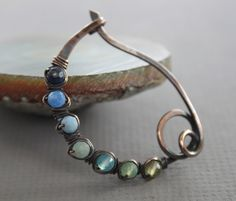 Arch scarf pin or shawl pin with ombre blue shades by IngoDesign