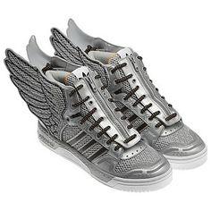 online store 924cc eb52c Adidas Jeremy Scott JS Wing Shoes 2.0 Silver Black Mesh Metal Shoes Rare Sz  8 US