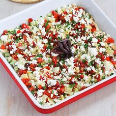 Healthy Mediterranean 7-Layer Dip Recipe - Cookin' Canuck (I'm going to leave in the sour cream.  Plain Greek Yogurt is too tart for me.)
