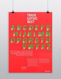 type specimen poster trade gothic next - Google Search