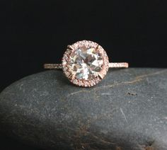 14k Rose Gold 6mm White Topaz Round and Diamonds Wedding or Engagement Ring (Choose color and size options at checkout)