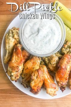 Dill Pickle Chicken Wings will be your new favorite wing! Baked Chicken Wings get a dill pickle twist with pickle brine. The whole family will love these easy baked chicken wings. Other dill pickle recipes available too. Easy Baked Chicken Wings, Stuffed Chicken Wings, Baked Wings Recipe, Chicken Wing Sides, Chicken Wing Flavors, Low Carb Chicken Wings, Grilled Chicken Wings, Crispy Chicken Wings, Pollo Keto