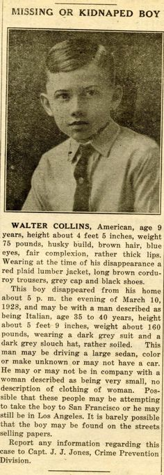 Walter Collins:  Missing or Kidnapped