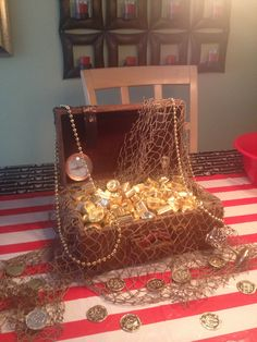 Option for theme/environment decor - Pirate Treasure Box Pirate Party Decorations, Pirate Decor, Pirate Theme, Pirate Centerpiece, Pirate Halloween Party, Pirate Birthday, Mermaid Birthday, Party Props, Party Themes