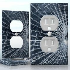 DIY Do It Yourself Home Decor - Easy to apply wall plate wraps | Busted Glass  Cracked Pattern  wallplate skin sticker for 1 Gang Wall Socket Duplex Receptacle | On SALE now only $3.95 Do It Yourself Home, Light Switch Covers, Plates On Wall, Decals, Wraps, Stickers, Easy, Pattern, Home Decor