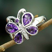 Amethyst 'Lilac Butterfly' ring from India