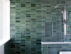 Installation Inspiration - Heath Ceramics.  Guest bath at the Margarido Residence using 2x6 field tile in Jade and Seafoam from the Classic Field collection Designer: Medium Plenty Photo: Melissa Kaseman