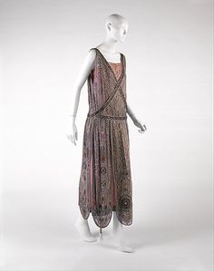 French silk, metallic thread and glass bead evening dress designed by Jeanne Lanvin for House of Lanvin, spring/summer 1923.