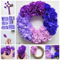 Creative Ideas – DIY Ombre Crepe Paper Flower Wreath – How to make Tissue Paper Wreaths, Paper Flower Wreaths, Tissue Paper Crafts, Tissue Paper Flowers, Flower Crafts, Diy Flowers, Flower Ideas, Diy Ombre, Diy Fleur Papier
