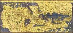 Tabula Rogeriana: Muhammad al-Idrisi (1099–1165/6) was born in N. Africa but spent much of his early life traveling, going as far as England, Hungary and Anatolia. He settled in Sicily and began working for the Norman King Roger II. In 1154 he created the Tabula Rogeriana, which offers a description of the world and over 70 maps of various places.  His world map, which depicts Europe, Asia and the northern part of Africa (the southern part of the world is at the top of the map).