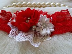 Red Headband/Holiday Headband/Newborn Headband/Flower Headband/Girl Headband/Christmas Headband/Flower Headband/Baby Headband by OohLaLaDivasandDudes on Etsy
