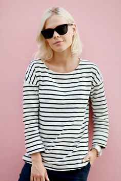 We The People's Jessie Bush  in a classic striped tee #fashion #style