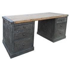 Noir Hammered Zinc Desk with Old Wood Top from @zinc_door #zincdoor #furniture #desk #industrial