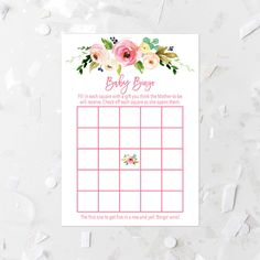 Spring Floral Bingo Game Printable Pink Baby Bingo Games Floral Baby Bingo Activities Pink Floral Baby Shower Games Pink Baby Shower 233 by MossAndTwigPrints on Etsy