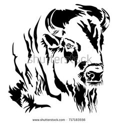 Buffalo Bison Head Silhouette | Buffalo Head Stock Images, Royalty-Free Images & Vectors | Shutterstock