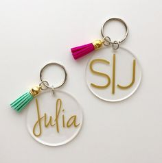 Monogrammed Acrylic Keychain with Tassel