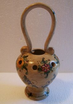 Vintage Italian Ceramic Flower Frog - Basket Urn with Handle and Flowers - hand painted - Italy - Baffoni Gubbio - Mother's Day