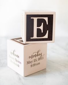 Wood Alphabet Block Birth Announcements by Atheneum Creative / Oh So Beautiful Paper