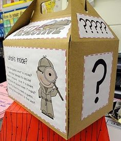 The Mystery Box- Great for inferencing and asking questions. Worksheet allows for student teamwork. I think I will do a new item every week or have different students take it home and fill it w/ a mystery item.