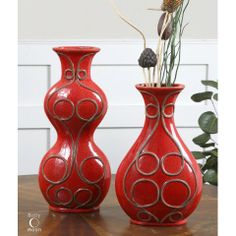 Decora Miaka Vases S/2 - Decorative, ceramic vases finished in crackled, bright red with aged black accents. - See more at: http://decora.nonnihome.com/vases-urns-boxes/35097025-decora-miaka-vases-s-2.html#sthash.8Sm8P5yD.dpuf