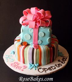 How to Make a Poofy Bow {Fondant or Gum Paste}, Part 2   Gender Reveal Cake