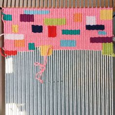 Started this #sprinkles #wallhanging yesterday, even though I still have a few other pieces on looms to complete. #makersgonnamake #weaveweird #tapestryweaving #ontheloom