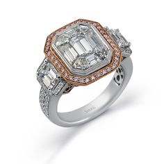 Mosaic Collection - This brilliant 18K white and rose ring features a 2.0ctw center mosaic of white diamond, .30ctw round white Diamonds, .18ctw round pink Diamonds, and .77ctw emerald cut white Diamonds. - LP2061