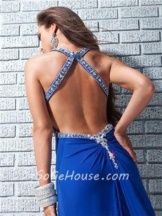 Sexy Sheath Straps Backless Long Royal Blue Chiffon Prom Dress Cut Outs