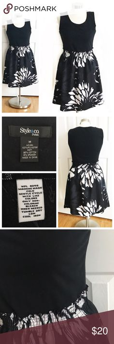 Style & Co Black Dress Black sleeveless top connected at elastic waistband skirt bottom. Comfy dress. Stretch to fabric. Large floral print on black skirt in dark grey and white. Style & Co Petite Medium from Macys. Style & Co Dresses