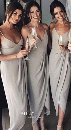 Silver Bridesmaid Dresses Ankle-length, V Neck Bridesmaid Dresses Sheath/Column, Chiffon Bridesmaid Dresses Spaghetti Straps, Cheap Bridesmaid Dresses Sleeveless Ruffles Bridesmaid Dresses, Cheap Bridesmaid Dresses Online, Unique Prom Dresses, Bridesmaids, Cheap Dresses, Party Dresses, Wedding Dresses, Spring Formal Dresses, Formal Evening Dresses