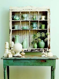 Flea Market Finds to Savvy Storage Old window = rustic shadowbox-style cupboard. Next time I won't pass up those old windows at a dollar each.Old window = rustic shadowbox-style cupboard. Next time I won't pass up those old windows at a dollar each. Painted Furniture, Diy Furniture, Outdoor Furniture, Refurbished Furniture, Furniture Design, Vintage Furniture, Green Furniture, Furniture Refinishing, Repurposed Furniture