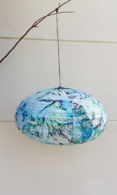 Grey blue tie-dye cotton lamp by Lesflibustieres on Etsy
