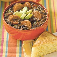 Slow-Cooker Black Bean Soup with Sausage. Sounds perfect for cold winter nights. Slow Cooker Recipes, Crockpot Recipes, Soup Recipes, Cooking Recipes, Healthy Recipes, Yummy Recipes, Recipies, Yummy Food, Black Bean Soup