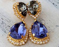 Emerald drop earrings,emerald green earrings,Swarovski earrings ...