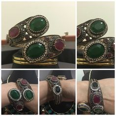 NWOT Turkish openable  bracelet cuff NWOT Turkish cuff bracelet with attached stones ruby, emerald and black onyx . Jewelry Bracelets