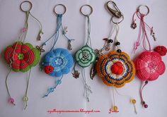 Colourful keychains crochet