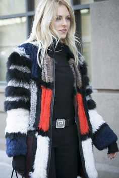 Latest Fashion Week Street Style. Yet another splendid fur at New York Fashion Week. [Photo by Ryan Kibler]