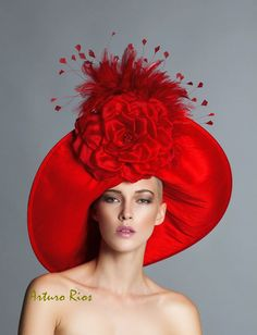 From my Spring collection here is this stunning Red Derby hat, made of Red Dupioni Silk, rolled up brim design , embellished with a Large Silk satin