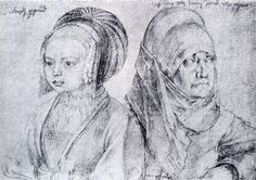 Albrecht Dürer - Portrait of a Young Girl of Cologne and Durer's Wife Albrecht Durer, Sketchbook Online, Silverpoint, Landsknecht, Italian Artist, Renaissance Art, Renaissance Clothing, Chiaroscuro, Old Master