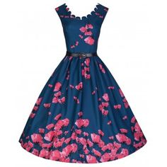 'Daria' Elegant Vintage Inspired 50's Midnight Blue & Pink Poppy Print Swing Dress - LindyBop