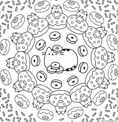 pusheen the cat donuts pattern coloring pages printable and coloring book to print for free. Find more coloring pages online for kids and adults of pusheen the cat donuts pattern coloring pages to print. Free Coloring Sheets, Pattern Coloring Pages, Online Coloring Pages, Coloring Pages To Print, Coloring Book Pages, Printable Coloring Pages, Coloring Pages For Kids, Donut Coloring Page, Pusheen Coloring Pages