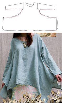 Long Sleeved Shirt with Swingy Handkerchief Hem...