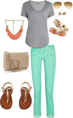 """Cream, mint and orange"" by jenpin12 on Polyvore"