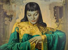 Framed Print - Lady from Orient by Vladimir Tretchikoff (Picture Abstract Art) Oil Painting On Canvas, Canvas Art, Canvas Prints, Framed Prints, Kitsch Art, Canvas Poster, Mona Lisa, Art Photography, Fine Art Prints