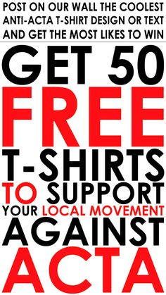 Our way to fight against ACTA - supporting the protesters with 50 free shirts :)
