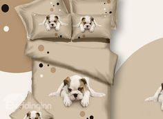 3D Puppy Dog Printed Cotton 4 Piece Bedding Sets/Duvet Covers