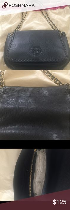 """Tory Burch Handbag - Small Marion Tote Very soft leather handbag with multiple compartments.  Like new, with one very light scratch on back bottom right as seen in 2nd picture. The bag has adjustable strap with 18"""" drop single and 10"""" double. The bag measures approximately 11L x 8H x 4W. Tory Burch Bags Shoulder Bags"""