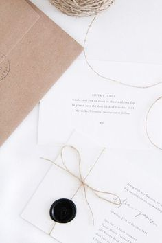 Loving the simplicity of these invites coupled with some great details:  twine and a wax seal!    Photo:  Follow Studio  Invite:  Made to Measure