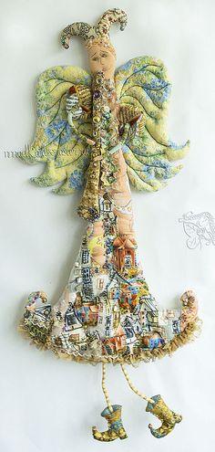 Купить Ангел города N - ангел, кукла, текстильная кукла, флейта, город, городской пейзаж