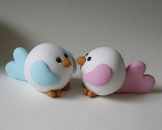 Birdies in Love Cute Polymer Clay, Fimo Clay, Polymer Clay Crafts, Fondant Cake Toppers, Fondant Cakes, Cupcake Cakes, Fondant People Tutorial, Cake Icing Tips, Safari Cakes